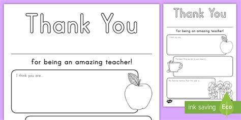 Thank You Teacher Worksheet Activity Sheet Teacher Thank You Letter Template Twinkl