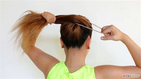 tying of long hair 4 ways to make a messy bun wikihow