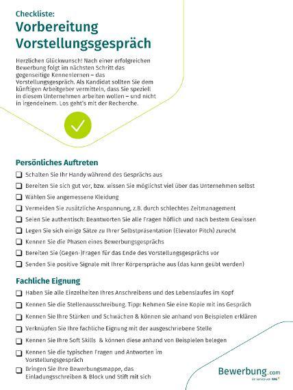 Bewerbungsgesprach Fragen Vorbereitung Checkliste Vorbereitung Vorstellungsgespr 228 Ch Pdf