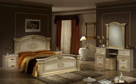 opera italian classic beige gold bedroom set