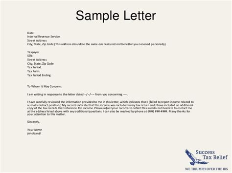 Credit Explanation Letter Exle How To Write A Letter Of Explanation To The Irs From Success Tax R