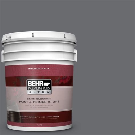 behr premium plus ultra 5 gal ppf 49 platinum gray flat matte interior paint 175305 the home