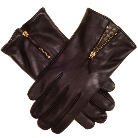 black co uk chocolate brown leather gloves with tweed