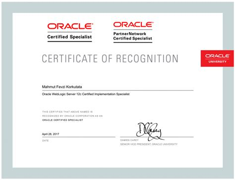 java and middleware certification oracle mission completed oracle weblogic server 12c certified