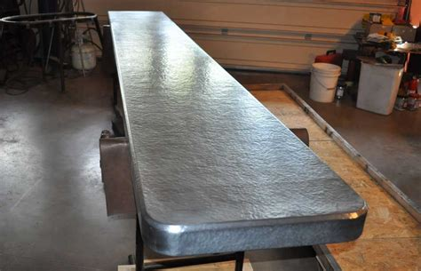 How To Install A Kitchen Island by Hammered Zinc Countertop Mountain Copper Creations