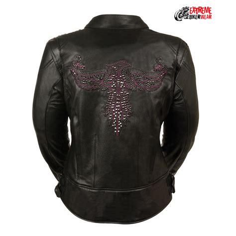 leather biker gear ladies black purple racer jacket w pheonix studding