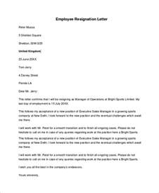 Resignation Letter Format Sle For Employee Sle Resignation Letter 18 Documents In Pdf Word