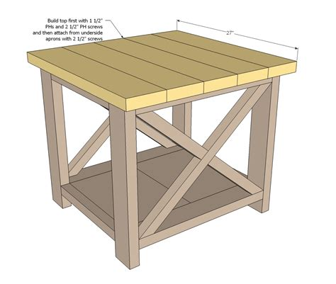 side table plans ana white rustic x end table diy projects