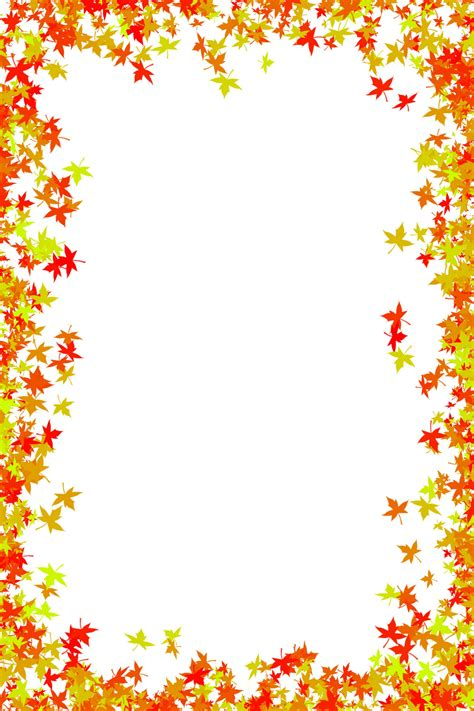 Fall Foliage Border Free Download Photo Frame Of Maple Leaves In Red And Orange Colors Leaf Border Template