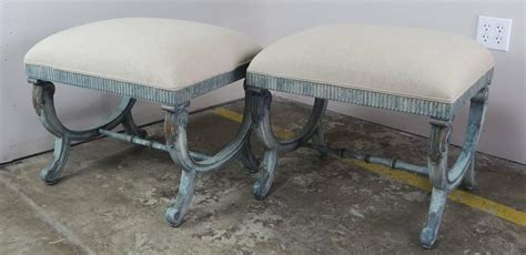 blue x bench french painted blue upholstered quot x quot bench at 1stdibs