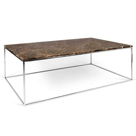 Brown Coffee Tables Temahome Gleam Brown Marble Chrome Coffee Table Eurway