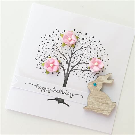 Simple Birthday Card Monochrome Rabbit Set sted tree with pink mulberry flowers bunny rabbit happy birthday card osonia designs