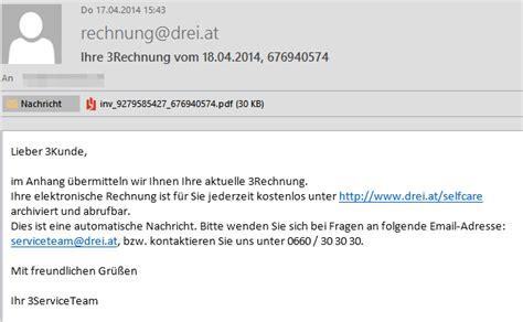 Freiberufler Rechnung Per Email Trojaner Warnung F 252 R Kunden Des Mobilfunkbetreibers Drei Mimikama