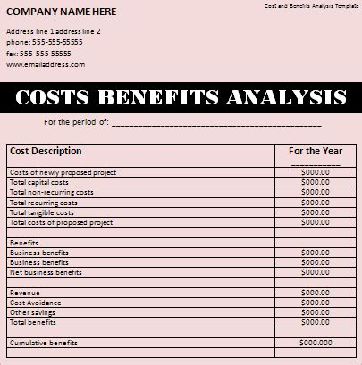 exle of cost benefit analysis template 28 images sle