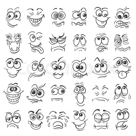 doodle expression emotion set various expressions in