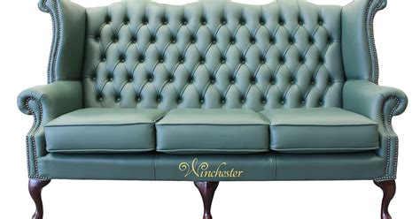 High Back Wing Sofa by Chesterfield 3 Seater High Back Wing Sofa Jade