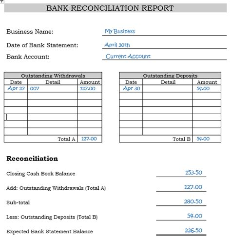 business bank reconciliation template bank reconciliation statements