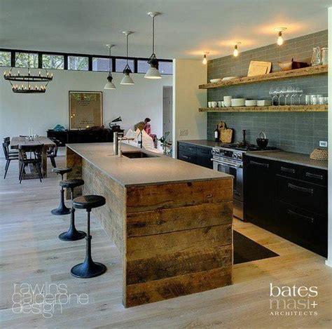 reclaimed wood island kitchen for the home