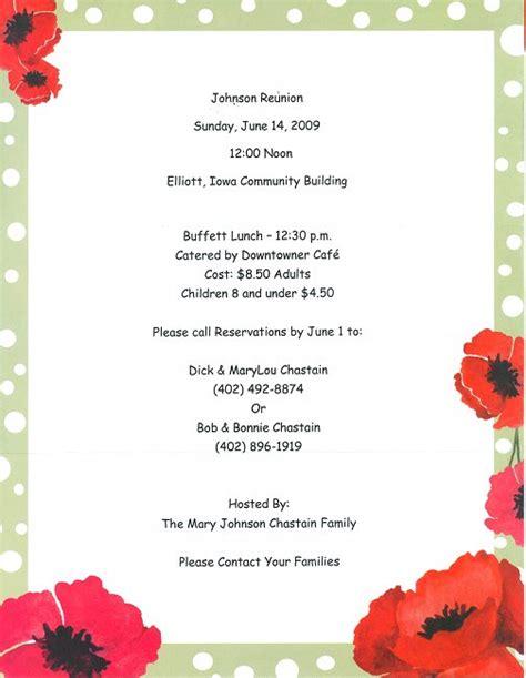 Family Reunion Invitation Letter Exles Johnson Family Recent News