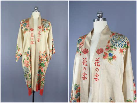 vintage kimono robe vintage silk robe 1920s kimono robe silk dressing gown