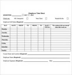 Free Timesheet Template by Employee Timesheet Template 8 Free For Pdf