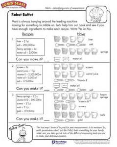 quot robot buffet quot 3rd grade measurement worksheets for kids