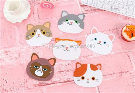 Cat Cup Mat 2017 cat animal cup mat creative eat mat pot