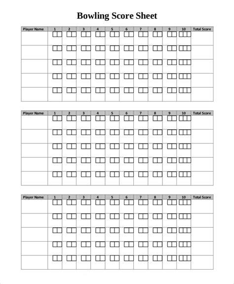 bowling score sheet word document