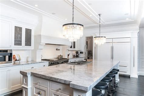 andino white granite kitchen tropical with small tile