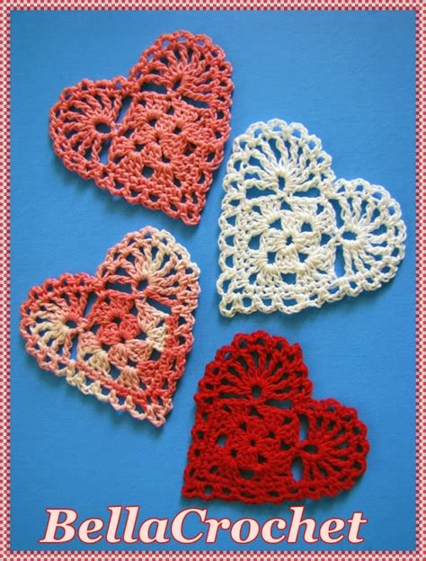 crochet pattern heart applique bellacrochet sweetie hearts applique or ornament a free