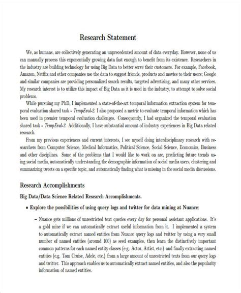 research statement template 16 research statement exles sles