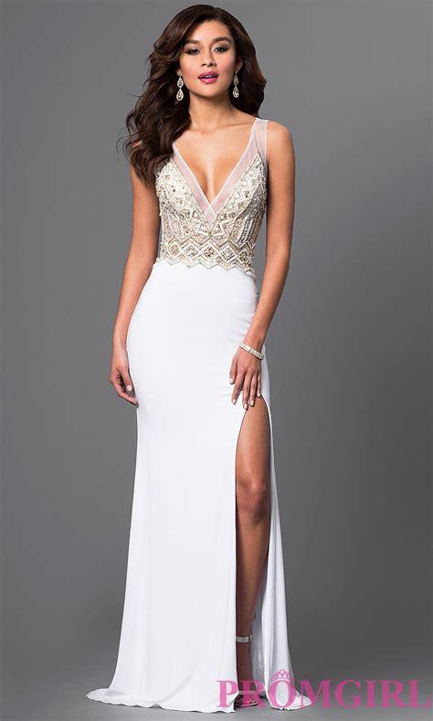 V Neck Jewel Embellished Prom Gown   PromGirl