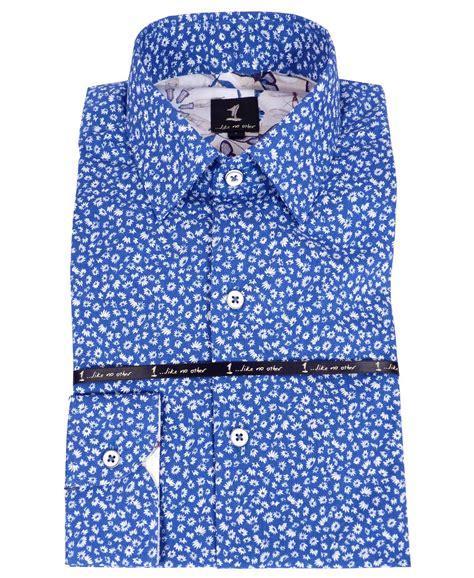 Pattern Blue Shirt   1 like no other blue flower pattern shirt 2774s 1