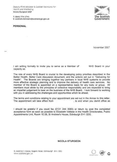 nhs cover letter nhs appointment letter template cover latter sle
