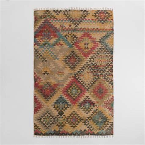 jute rug world market 5 x8 boho print jute kilim area rug world market