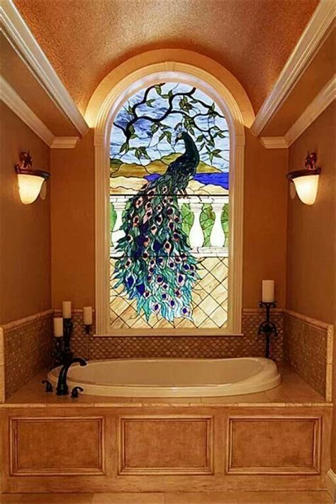 stained glass bathroom windows 1000 images about peacock decor on pinterest peacocks