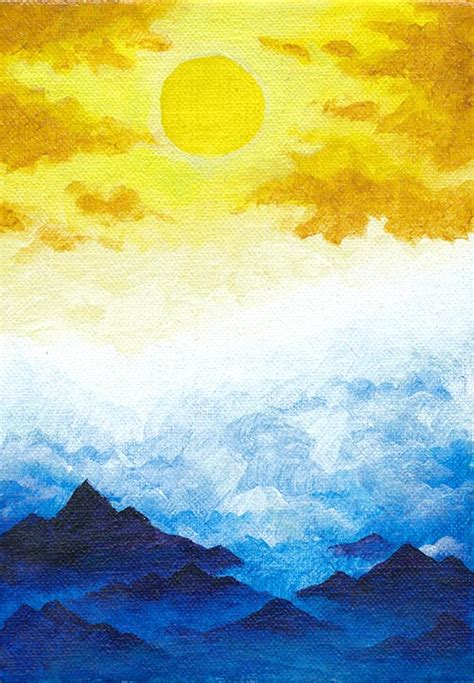 acrylic paint sun mountains and sun much white paper
