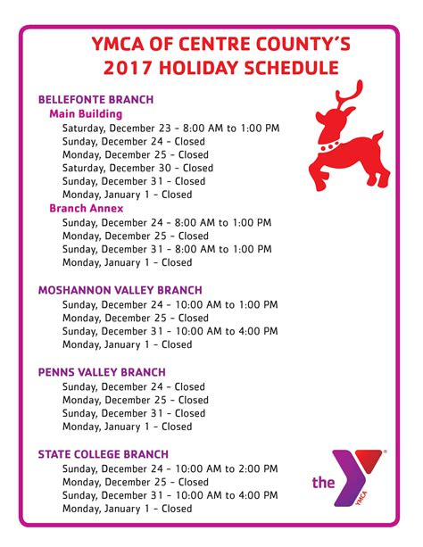 ymca printable schedule ymca of centre county holiday facility schedule 2017 18