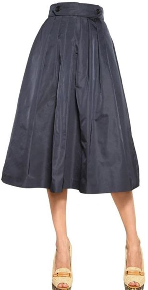 burberry prorsum silk taffeta flared skirt in blue navy