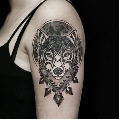 fox head tattoo grey ink fox on left shoulder