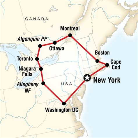road map of eastern usa and canada highlights of the eastern us canada in united states