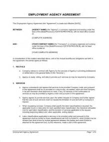 staffing contract template employment agency agreement template sle form
