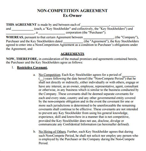 compete agreement samples examples templates sample templates