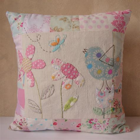 creations cushion patchwork flower and bird applique