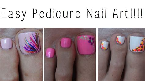 easy pedicure nail three designs