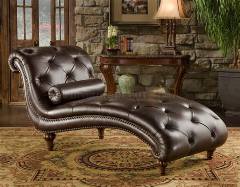 brown lounge rich brown top grain tufted leather traditional chaise lounge