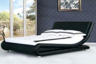Home beds single beds boston faux leather black italian designer bed
