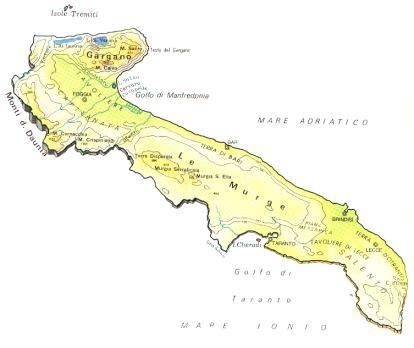 tavoliere delle puglie cartina puglia mappa rilievi valichi coste isole paesaggio fiumi