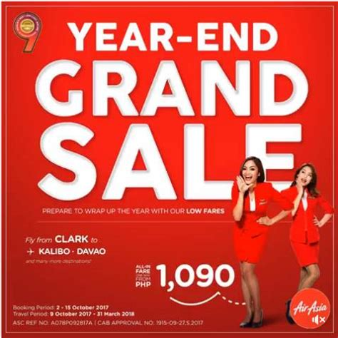 airasia year end offer air asia year end grand sale for october 2017 march 2018