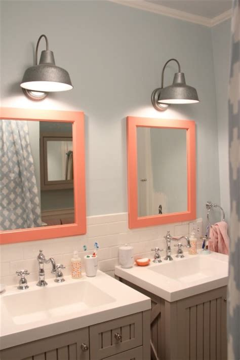 blue and coral bathroom the kids bathroom makeover reveal my old country house